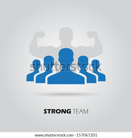 Concept of strong team, union, leadership, group, community. Vector illustration