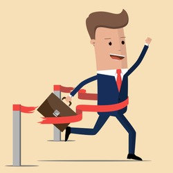 Concept of successful businessman in a finishing line.  Businessman victory with hands up run toward red ribbon tape finish. Concept business illustration.