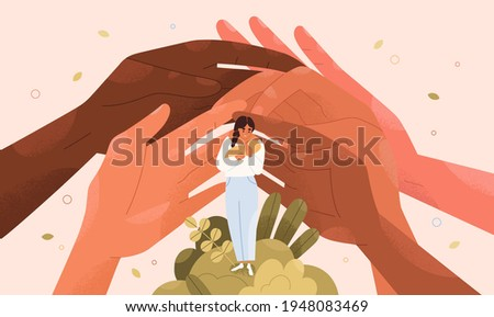 Concept of support and protection of young single mothers with babies. Help hands and assistance of family and society for moms with children. Happy safe motherhood. Colored flat vector illustration