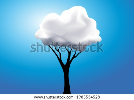 Concept of surreal daydreaming with a tree whose foliage is replaced by a white cloud. Stock photo ©