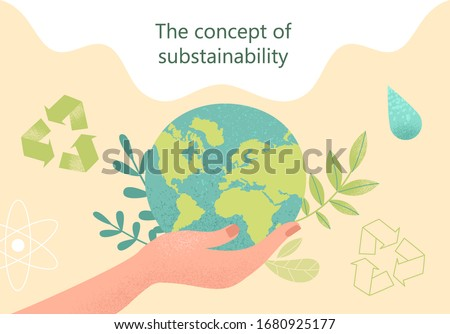 Concept of sustainability or environmental protection. Vector illustration Stockfoto ©