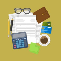Concept of tax payment and invoice. Wallet, credit cards, calculator, pen, pencil, coffee, glasses, stickers for notes. Vector illustration.