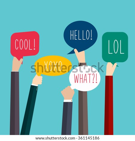 Concept of teamwork and integration with businessman holding colorful Speech Bubbles. Hands with Social Media Words. Vector illustration.
