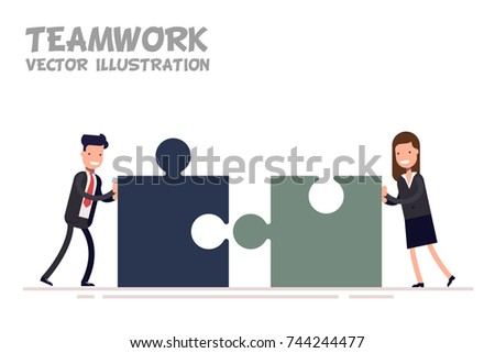 Concept of teamwork. Businessman and businesswoman or managers together collect mosaic. Vector flat illustration isolated on white background.