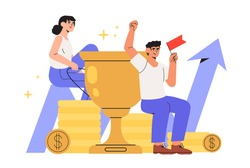 Concept of teamwork, career growth, reach goal, success achievement theme with successful flat business people characters celebrating victory. Promissing company or startup triumph or growth.
