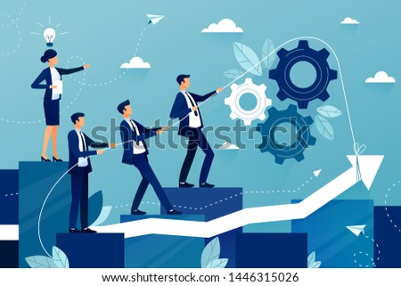 Concept of teamwork in business company. Business team walking to success. Female boss showing way to future success. Mutual support and assistance in work. Vector colorful illustration.