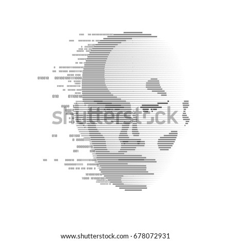 concept of technology advancement, digital Face Scanning, human face combined with binary code