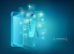 concept of telemedicine or mobile doctor, graphic of mobile phone with medical health care interface