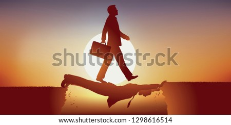 Concept of the ambition of an opportunistic man, who takes advantage of the weakness of his competitor to take the leadership, not hesitating to walk on him to achieve his goal