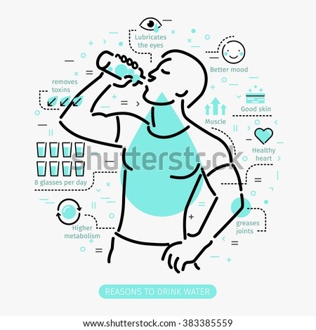 Concept of The Benefits of Drinking Water. Man drinking water.