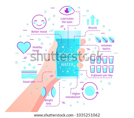Concept of The Benefits of Drinking Water. Reasons to drink water. The hand holds a glass with drinking water. Flat design, vector illustration.