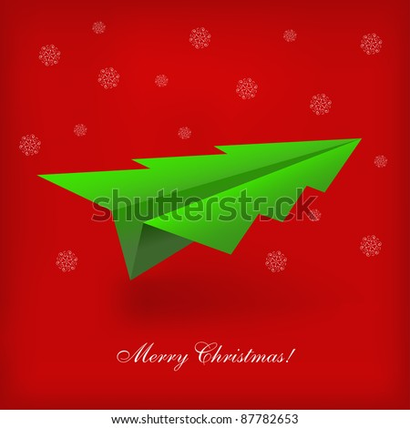 Concept of the Christmas tree and origami airplane. Vector illustration