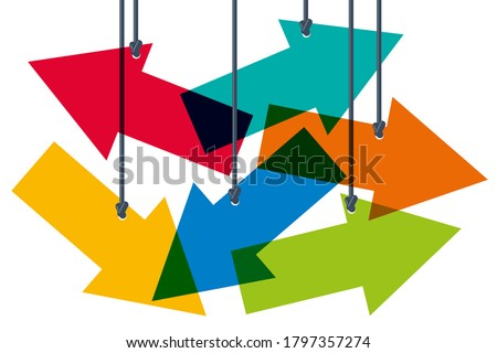 Concept of the difficulty of choosing between several directions, with colored arrows that symbolize the different possible orientations. Stockfoto ©