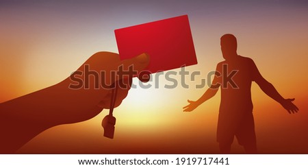 Concept of the foul sanctioned by a football referee, who hands a red card to a player to exclude him from the field.