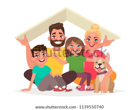 Concept of the home of a young happy family. Dad, mother, son, daughter and dog under the roof of the house. Vector illustration in cartoon style