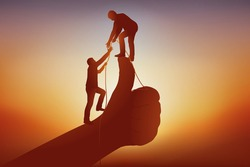 Concept of the nudge to help a partner reach the top of the pecking order, with two men symbolically going up a thumb.