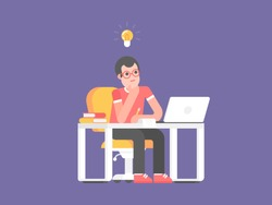 Concept of the original idea. Young man - student or manager sits at a table and thinks about ideas with light bulb at the top on purple background. Vector illustration