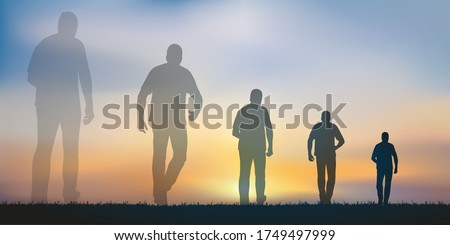 Concept of the passing of time with a man who symbolically advances towards his future by seeing the image of his past gradually disappear. Foto stock ©
