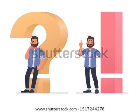 Concept of thinking and the emergence of ideas. A thinking or doubting man is near a big question mark and he is with a solution to the problem. Vector illustration in cartoon style