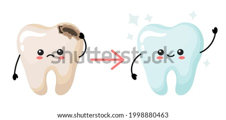 concept of tooth decay treatment. cute kawaii teeth. vector illustration in cartoon style. Stock foto ©