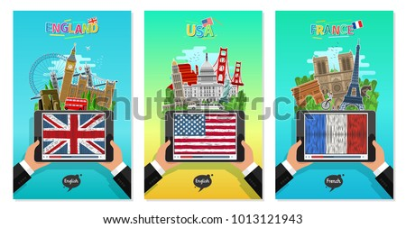 Concept of travel or studying English and French. Male hands holding a tablet with landmarks and hand drawn english and french flag on the tablet screen. Flat design, vector illustration
