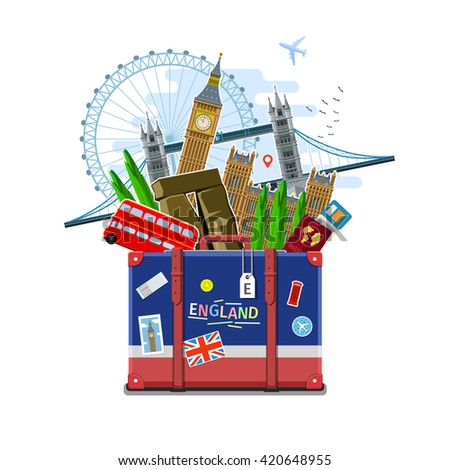 Concept of travel or studying English. English flag with landmarks in suitcase. Flat design, vector illustration