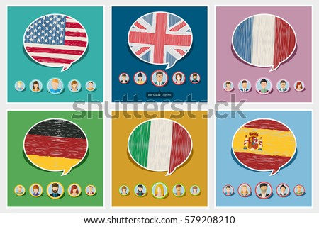 Concept of travel or studying languages. English, German, Spanish, Italian, French. Hand drawn flags in speech bubble with people icons. Flat design, vector illustration