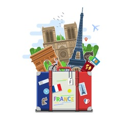 Concept of travel to France or studying French. French flag with landmarks in suitcase. Flat design, vector illustration