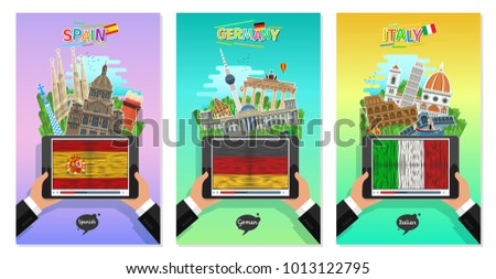 Concept of travel to Spain, Germany and Italy or studying Spanish, German, Italian. Male hands holding a tablet with landmarks and flags on the tablet screen. Flat design, vector illustration
