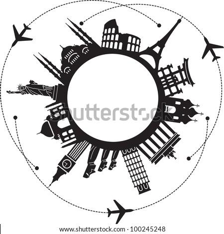 concept of traveling around the world. Famous international landmarks.