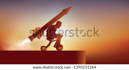 Concept of unalterable will with a motivated man who launches towards a cliff astride a tricycle, hoping to fly with a rocket.