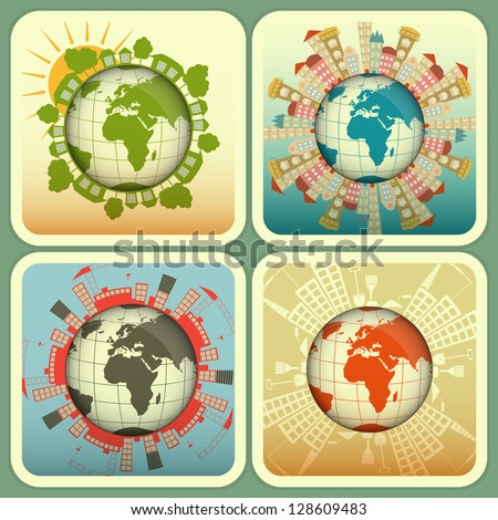 Concept of Urban and Rural Construction. Four Square Icons - Houses around the Planet Earth. Vector Illustration.