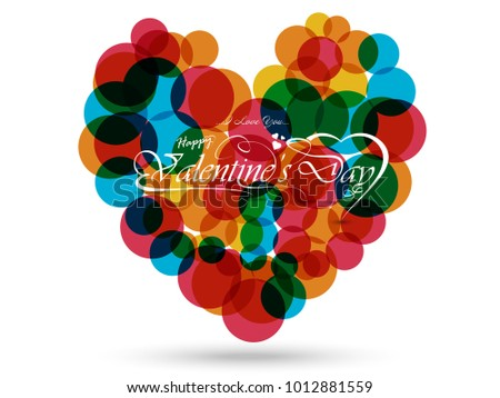 Concept Of Valentine's Day, illustration Of Love And Happy Valentine Day Abstract Background With Text, Love Heart Shape For Beautiful Couple Vector Design...