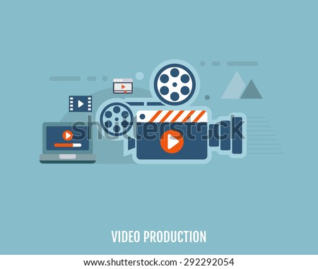 Concept of video production. Camera, video editor and laptop. Flat design. Vector Illustration.