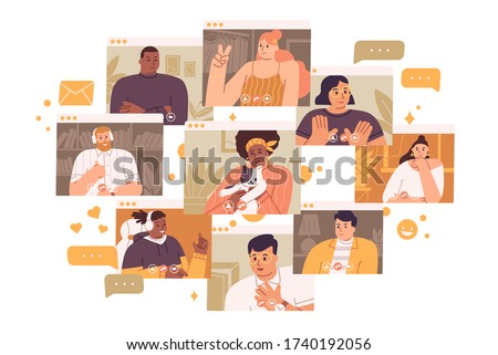 Concept of videoconference and web communication. Team meeting online. Smiling man and women work remotely and have a corporate virtual discussion. Vector illustration in flat cartoon style