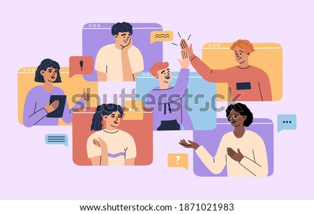 Concept of virtual video conference with group of remote workers on computer screen, online web cam call, smiling men and women have meeting. Vector illustration of communication, flat cartoon style.