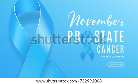 Concept of Web Banner for Prostate Cancer Awareness Month. Men Healthcare Symbol Template. Light Blue Background with Satin Ribbon and Lettering. Vector Illustration.
