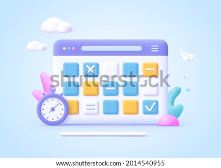 Concept of work planning, daily routine. Whiteboard with schedule plans. 3d cartoon vector illustration.