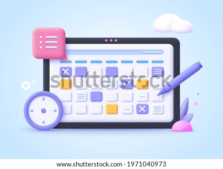 Concept of workflow organization, work planning, time managment, project management.  3d vector illustration.
