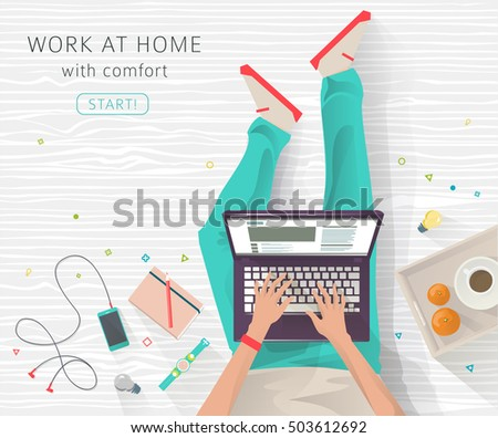 Wonderful Concept Of Working At Home. Work Wherever You Want In Comfortable  Conditions. Creating Ideas