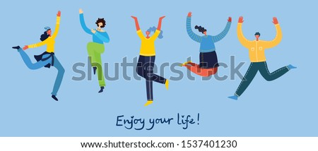Concept of young people jumping on blue background. Stylish modern vector illustration card with happy female and male teenagers and hand drawing quote Enjoy your life Сток-фото ©