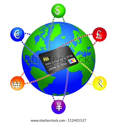 Concept on how a credit card can be used anywhere. Modifiable colors. EPS/AI8 file.