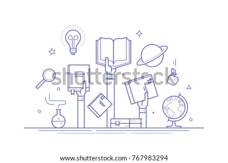 Concept on knowledge and education. Thin line flat design vector composition for banners, social media posts and print.