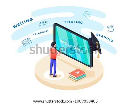 Concept on-line learning and teaching on theme of foreign languages. Student stands in front of gadget near textbooks at English, French and letters of Latin alphabet. 3d isometric flat vector design.