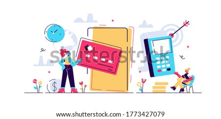 Concept Online and mobile payments for web page, social media, documents, cards, posters. Vector illustration pos terminal confirms the payment using a smartphone, Mobile payment, online banking.n Foto stock ©