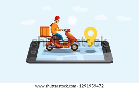 Concept Online delivery service, tracking online tracker, landing page. Tiny people moped with a delivery man, smartphone, isometric, package delivery, stopwatch. Internet delivery, idea, vector