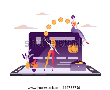 Concept online money transfer, electronic payments, online banking, e-commerce, mobile payment. Users of the mobile app transfer and receive money using a smartphone. Modern flat vector illustration