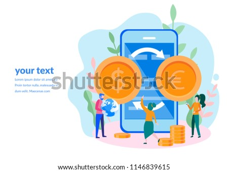 Concept online money transfer, euro and dollar coins for web page, banner, presentation, social media, documents, cards, posters. Vector illustration currency converter, mobile banking, finance