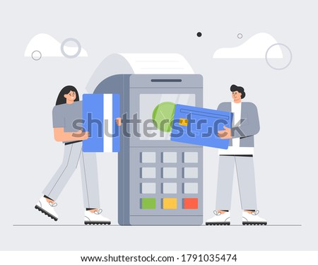 Concept Online payments for web page, for bannerd, advertising, app, landing page. Man and woman stand at the Pos terminal confirms the payment by debit credit card. Flat style vector illustration.
