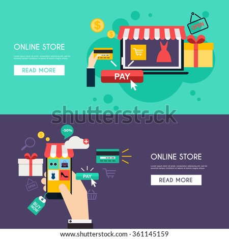 Concept online shopping and e-commerce. Icons for mobile marketing. Hand holding smart phone. Flat color horizontal banner set. Flat design style modern vector illustration.